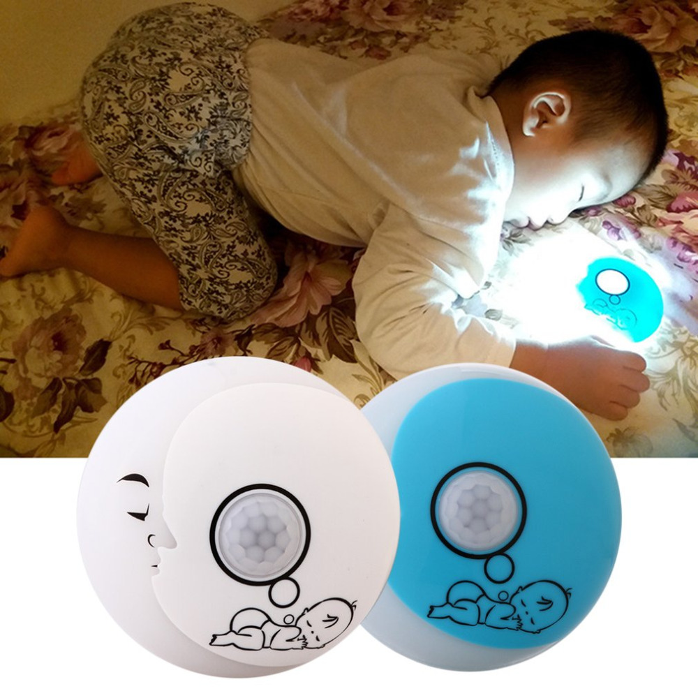 Novelty Lovely Moon Night Lamp Motion Sensor LED Night Light USB Rechargeable Cute Baby Print Blue And White for Babay Gift novelty octopus led rechargeable night