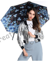 3pcs get 1pc free Fiberglass windproof 5 times black coating anti-UV parasol pocket folding Myosotis Sylvatica flowers umbrella