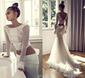 2017 Two Pieces Wedding Dresses Arabic Lace Long Sleeves Mermaid Wedding Gowns Tulle Bridal Dresses