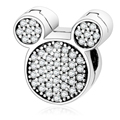 2017 Winter CollectIon Mickey Clip Charm Beads Fit Original Pandora Charms Bracelets Cute Pave CZ Bead DIY Jewelry berloques