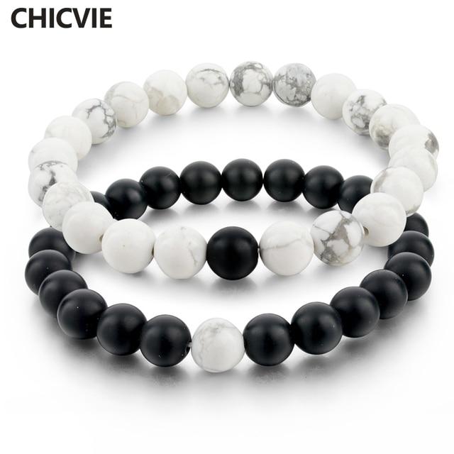 CHICVIE Black and White Natural Stone Distance Bracelets & Bangles for Women Men