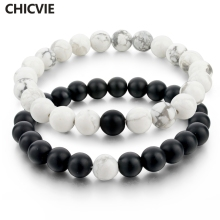 CHICVIE Black and White Natural Stone Distance font b Bracelets b font Bangles for font b