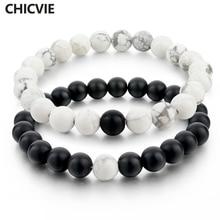 CHICVIE Black and White Natural Stone Distance font b Bracelets b font Bangles for font b