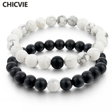 CHICVIE Black and White Natural Stone Distance Bracelets & Bangles for Women Men Strand Lovers Gifts Jewelry Bracelets SBR160101