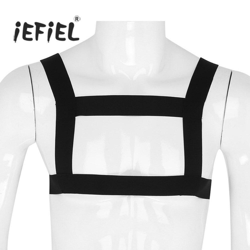 Mens Classic High Elastic Shoulder Strap Body Chest Harness Muscle Support Brace Belt Punk Costumes Straps Nightclub Bondage