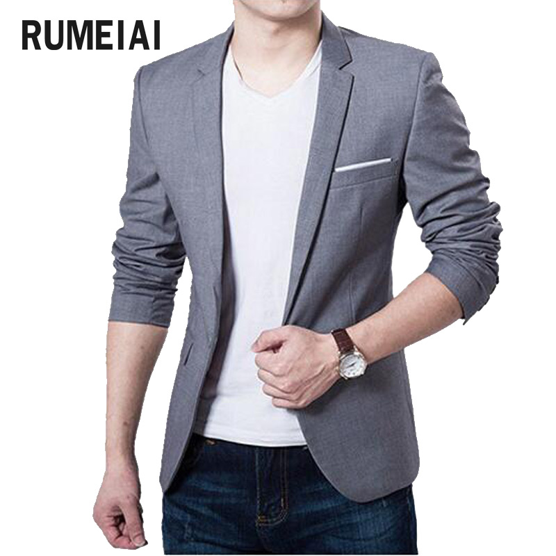 RUMEIAI 2018 Brand Clothing Blazer Men One Button Men Blazer Slim Fit Costume Homme Suit Jacket Masculine Blazer Size M-3XL ...