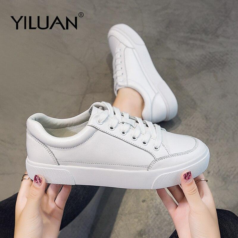 Yiluan cuir véritable blanc chaussures femme 2019 printemps unique sauvage plat sangle chaussures décontractées mode baskets chaussures étudiant