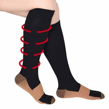 Support Knee High Sock High Elastic Foot Anti Fatigue Soft Pain Relief Miracle Copper Anti-Fatigue Compression Socks shenbao tablet ginseng maca warm tonic male health anti aging promoting energy waist and leg pain anti fatigue tone up the body