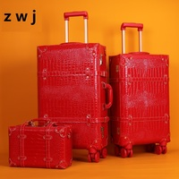 Retro Rolling Luggage Caster Women Password Suitcase Wheels Trolley Vintage Leather Luggage Set