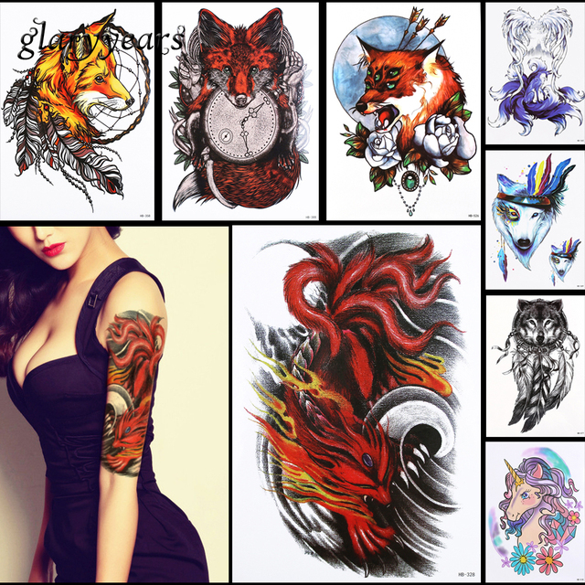 8 Pieces Fox Pattern Design Tattoo Sticker Temporary Dreamcatcher Flower  Decal Sexy Women Shoulder Body Art ee7b9a48af