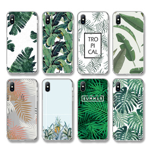Ottwn Summer Banana Leaf Phone Case For iPhone 11 X 7 8 6 6S Plus XS XR XS Max 5 5s SE Retro Leaves Soft TPU Silicone Back Cover(China)