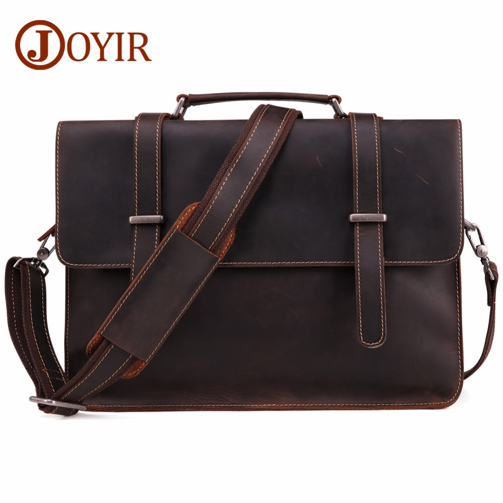 JOYIR Mens Briefcase Vintage Real Crazy Horse Leather Messenger Shoulder Bag Business Laptop Handbag For Male