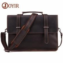 JOYIR Mens Briefcase Vintage Real Crazy Horse Leather Messenger Shoulder Bag Business Laptop Handbag For Male