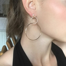 2017 New European Exaggerated Aros Big Hoop Earrings for Women Double Round Circle Pendant Long Earrings Brincos Jewelry XR431
