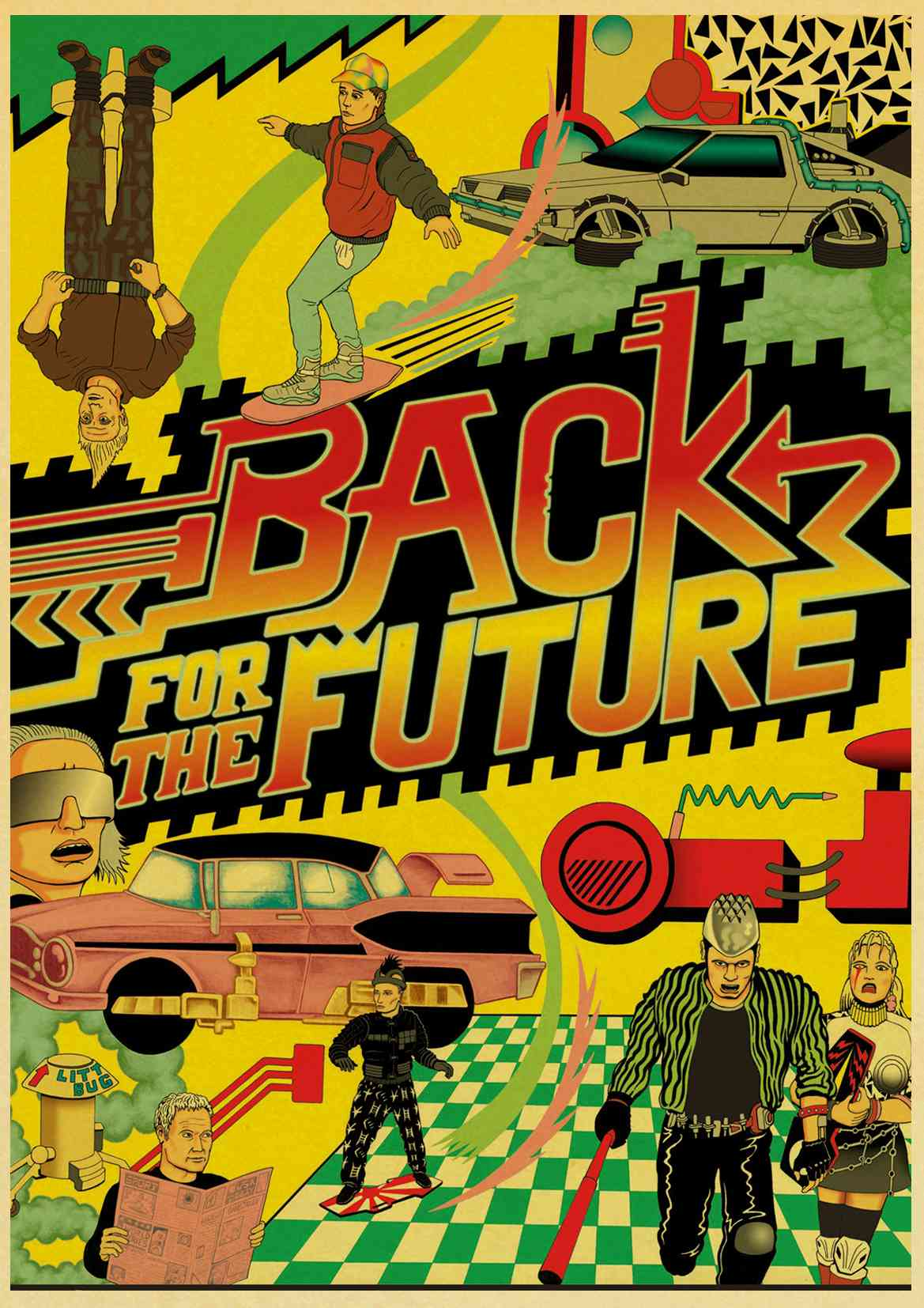 HTB1qRjclgmTBuNjy1Xbq6yMrVXaR Sci-fi Back to The Future Film Propaganda Retro Kraft Poster Decorative DIY Wall Canvas Sticker Home Bar Art Posters Decor