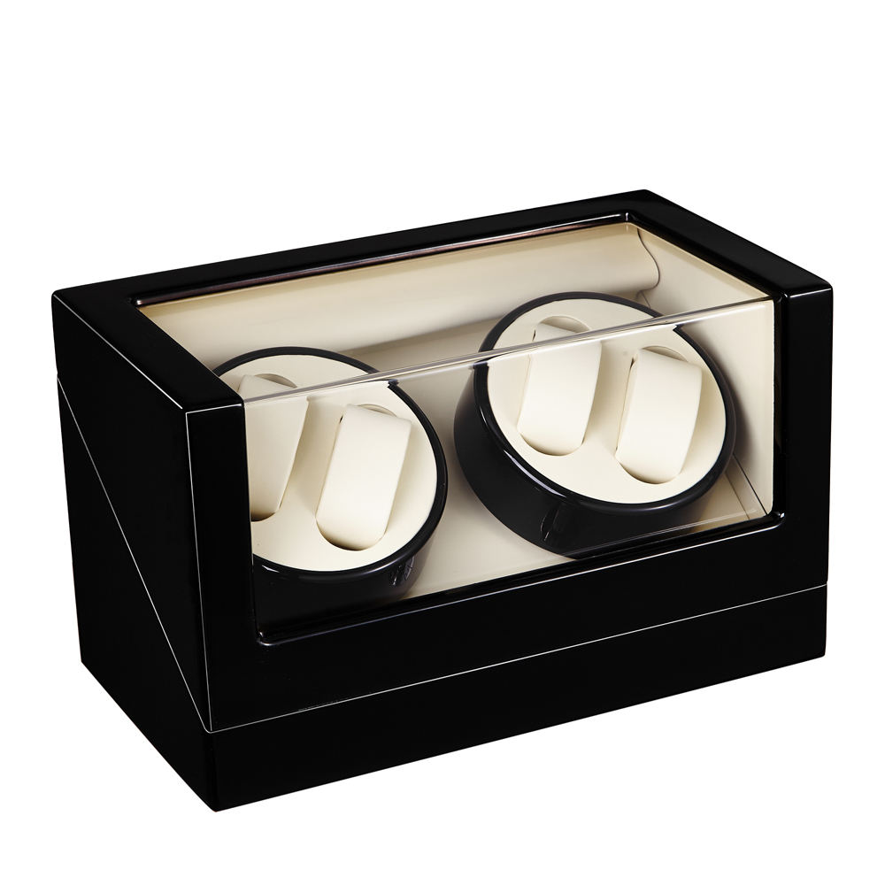 Watch Winder ,LT Wooden Automatic Rotation 4+0 Watch Winder Storage Case Display Box (Outside is black and inside is black) 2016 latest luxury 5 modes german motor watch winder yellow spray paint wooden white pu leater inside automatic watch winder