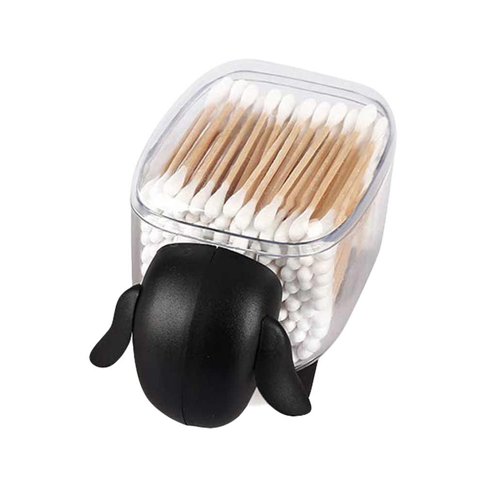 Creative Mini Plastic Cotton Swab Storage Box Cute Sheep Dust-proof Cosmetic Cotton Storage Box Household Desktop Organizer
