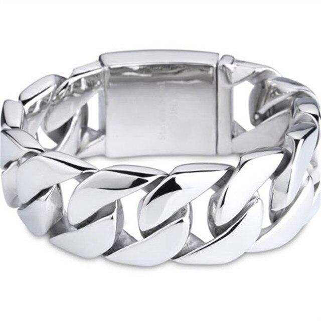 316l Stainless Steel Punk Huge Heavy Men S Biker Bracelets Polished Chrome Silver Anium Harley Bracelet