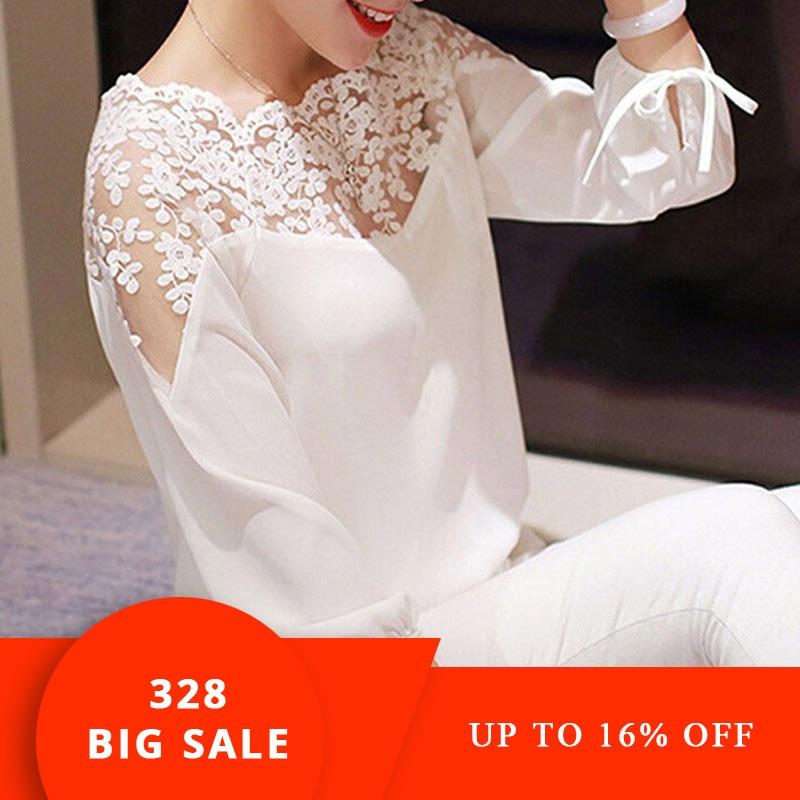 2019 Hot Sell Fashion Women Three Quarter Sleeve Lace Hollow Collar Chiffon Blouse Crop Ladies Girl White Black Cosy Tops Shirts