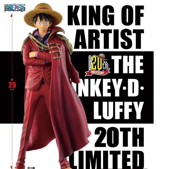25cm One piece Red Luffy 20th Anime Action Figure PVC New Collection figures toys Collection for Christmas gift 12cm one piece silvers rayleigh anime action figure pvc new collection figures toys collection for christmas gift with box