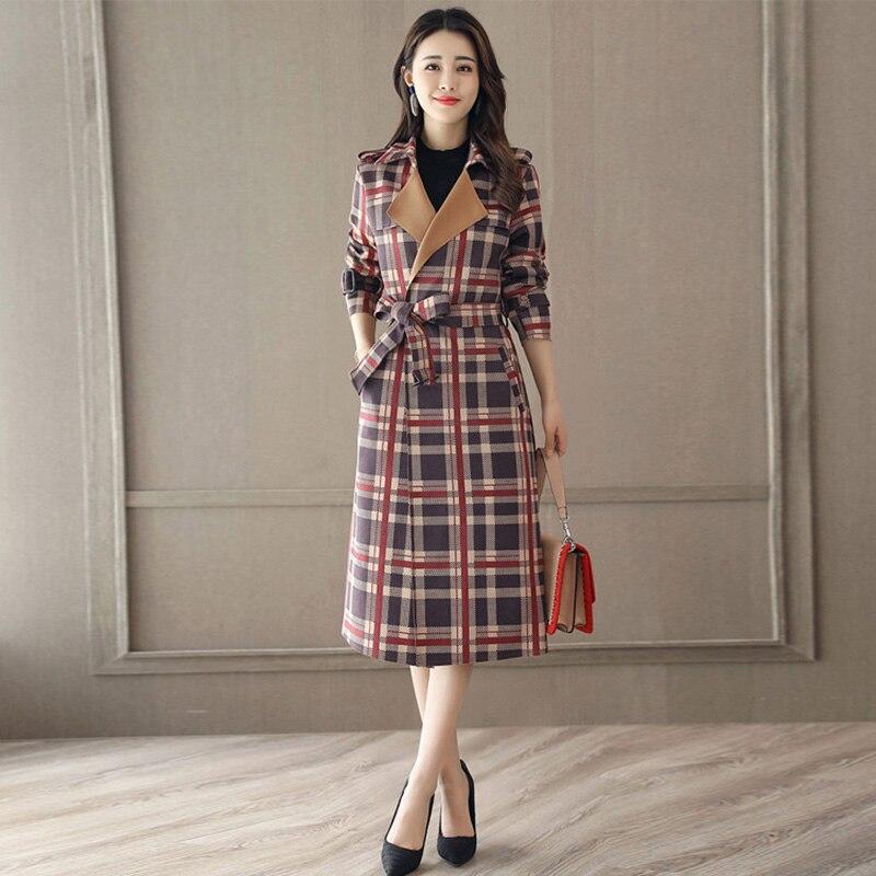 Style Femmes Laine Bureau Manteaux Pour Red Bouton Vent Vérifier Taille Plaid Angleterre Lady Ceinturé De Manteau up 4Hw4q