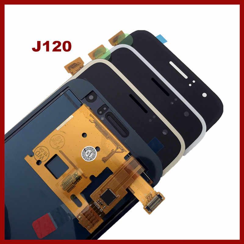 الاستشعار J120 شاشة LCD لسامسونج غالاكسي J1 2016 J120 J120F J120M J120H محول الأرقام بشاشة تعمل بلمس شاشة الكريستال السائل الجمعية استبدال