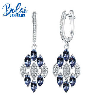 Bolaijewelry, natural tanzanite gemstone Clasp Dangle Earrings Pure 925 Sterling Silver Fine Jewelry For Women Girl party wear - DISCOUNT ITEM  10% OFF All Category