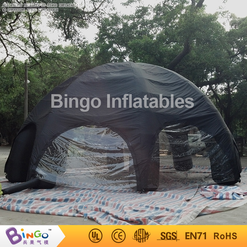Tents Model Black 8m Geodesic Dome Tent with Transparent Covers, 8 legs Inflatable Spider Tent for Events Party Show Activity personal activity inflatable mobile pub tent for family party use