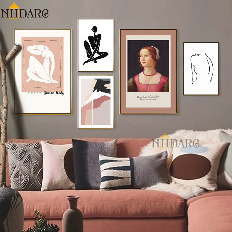 Retro Fashion European Style Canvas Print Painting Poster Art Wall Pictures For Living Room Vintage Character Body Home Decor