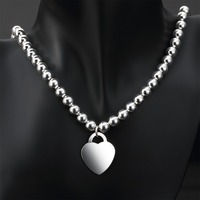 Glossy Heart Pendant 8mm 925 Silver Bead Necklace 17 Wholesale Women Choker Necklaces XL000798 Pretty Girls