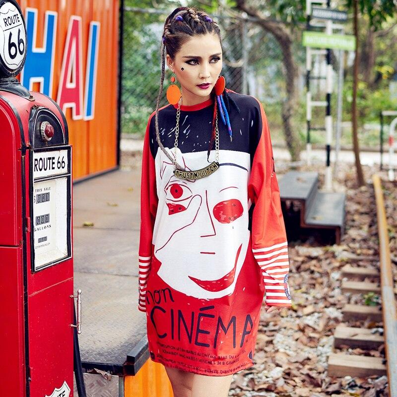 Allentato Jq523 Del Lettera Autunno New Vestito Casuale Femminile Qualità Harajuku Cartton Primavera Color picture Stampato Donna Fashion Lunga Color Da Manica Picture Alta w6vxqfUq0