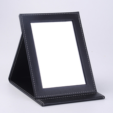 Fold Portable Makeup Mirror Benchtop Medium and Small PU Leather Vanity Without Light