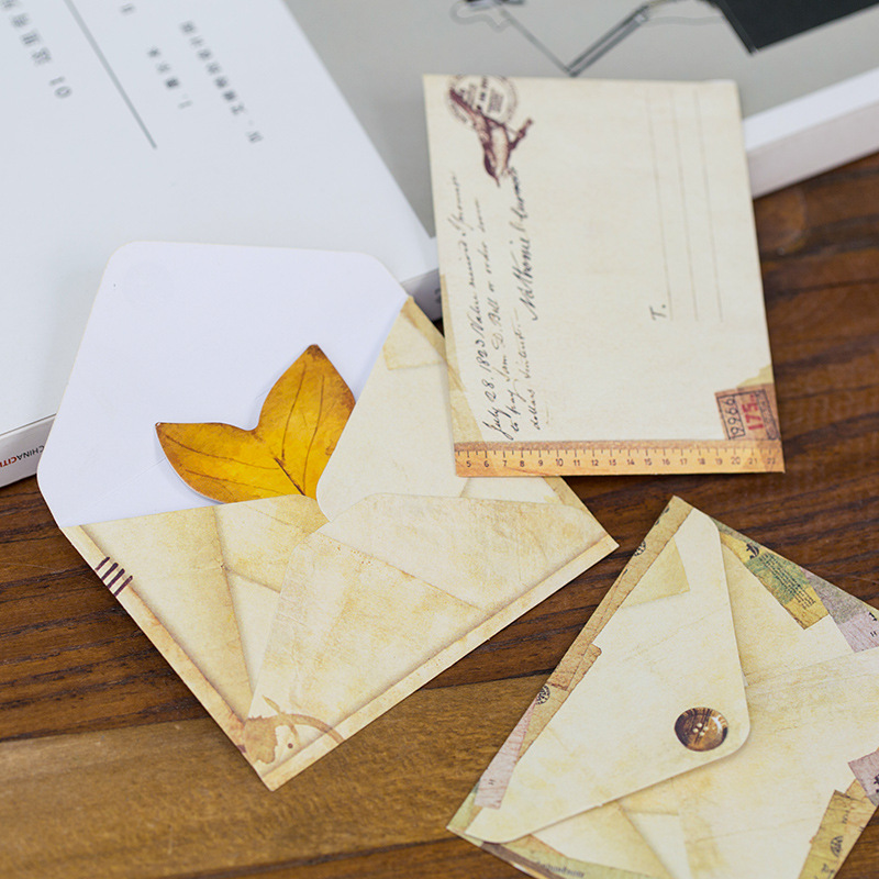 12pcs/set Antique Vintage Mini Envelope Gift Wrap DIY Tool Greeting Card Cover Giftbox Decorative Letter Writing High Quality