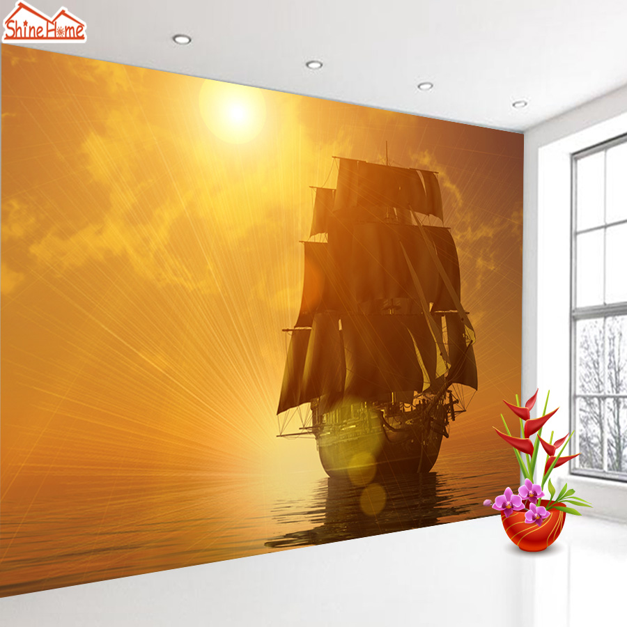 ShineHome-Seascape Sea Sailing Boat Sunset Wallpaper Rolls for 3d Walls Wallpapers for 3 d  Living Rooms Wall Paper Murals Roll shinehome sunflower bloom retro wallpaper for 3d rooms walls wallpapers for 3 d living room home wall paper murals mural roll