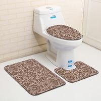 Classical European Pattern 3Pcs Toilet Rug Set Bathroom Carpet Non slip Floor Mat Absorb Bath Mats Sponge Toilet Cover