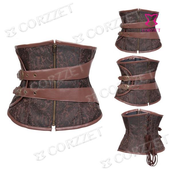 e32d32216a Gothic Brown Plus Size Corset Steampunk Waist Trainer Corsets Steel Boned Waist  Cincher Women Corselet Corpetes E Espartilhos