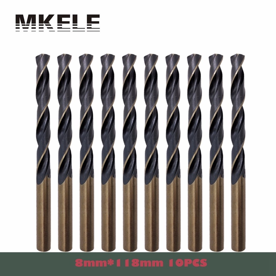 Wood Drill Bit 10pcs/box 8.0mm Straight Shank HSS High Steel Twist Woodworking For Metal Power Tools Ferramentas Herramientas free shipping 1pc hss 6542 made cnc full grinded hss taper shank twist drill bit 17 5mm 228mm for steel