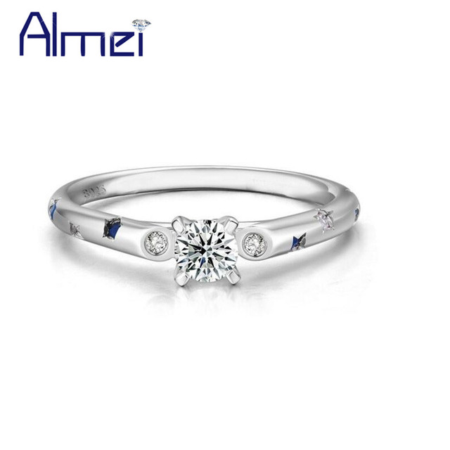 d884f174b0744 Almei 40% قبالة الزفاف 925 فضة زوج خواتم للنساء و الرجال زوجين خاتم مع  الزركون