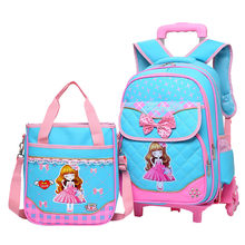 2PCS/set Hot Sale Trolley Backpack Girls Wheeled School Bag Children Travel Luggage Suitcase On Wheels Kids Rolling Book Bag(China)