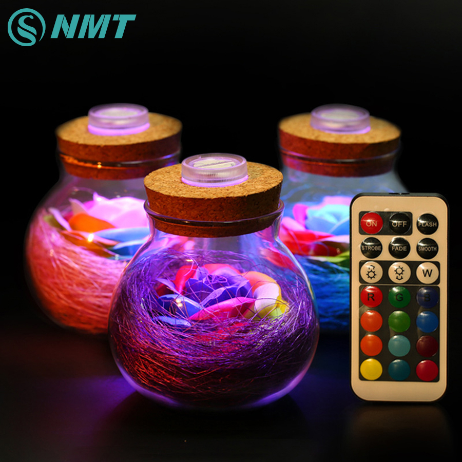 LED Romantic Bulb RGB Dimmer Lamp Rose Flower Bottle Light with Remote Control Night Light For Mom Lady Girl Birthday Gift