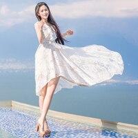 2016 Top Sale Lace Ladies Summer Princess Maxi Dress Temperament Long Beach Holiday Elegant Beach Dresses
