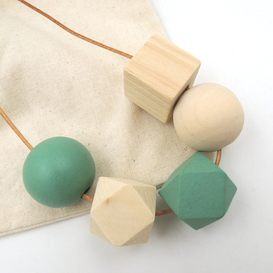 Simple light wooden necklace with teal and plain round tube geometric wood beads minimalist pandant gift NW177