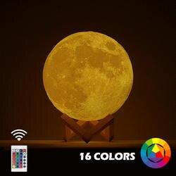 Новый дропшиппинг 3D принт луна лампа красочные изменения сенсорный Usb светодиодный ночник домашний декор креативный подарок
