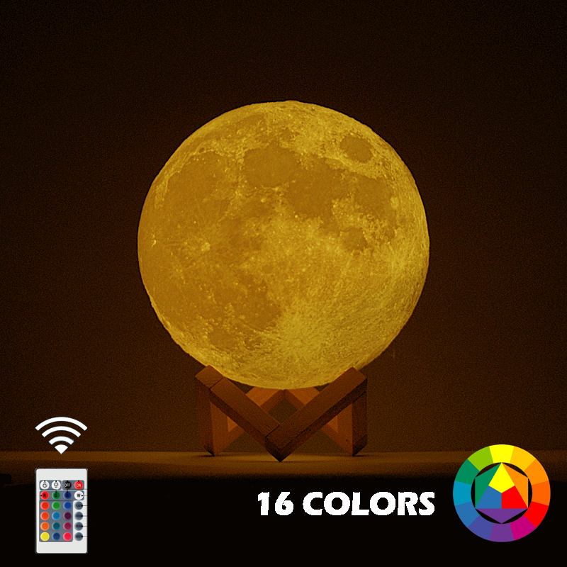 New Dropship 3D Print Moon Lamp Colorful Change Touch Usb Led Night Light Home Decor Creative Gift image