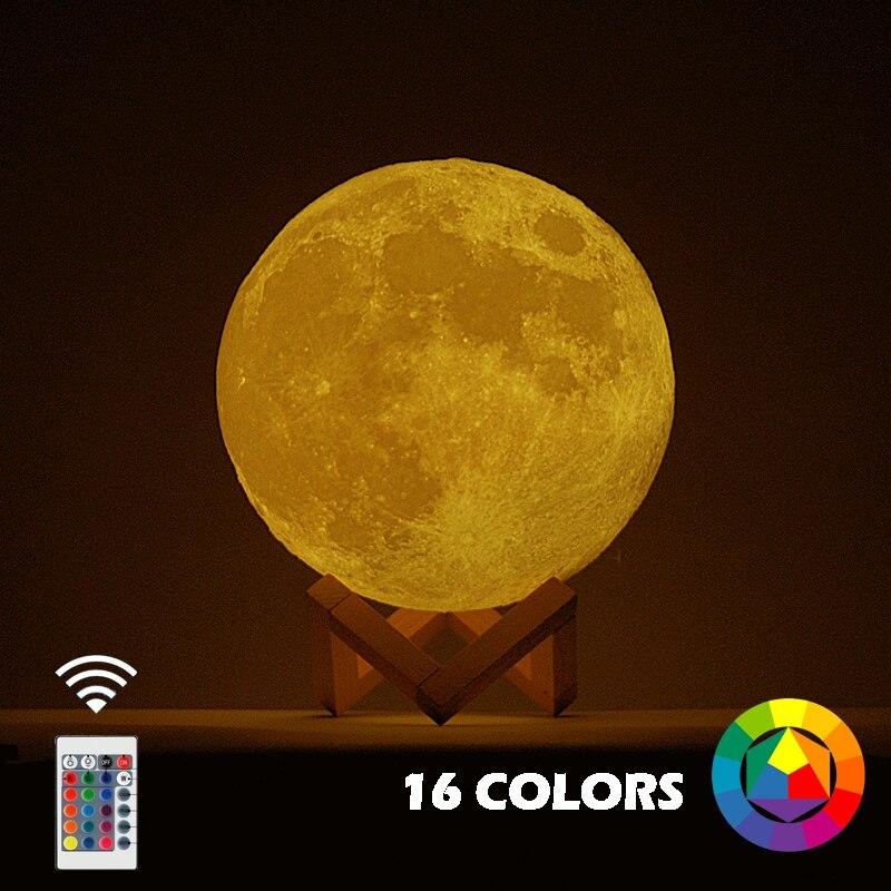 Nueva nave 3D imprimir Luna lámpara cambio colorido táctil Usb Led de luz de la noche de Casa decoración regalo creativo