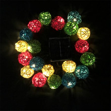 5m 28LED Colored Rattan Ball String Lights Sweet Fairy Lights Indoor Outdoor Garden Wedding Party Christmas Decorations ac220v 5m 28led crystal bubble water drop string fairy lights for wedding party christmas decorations for home outdoor indoor
