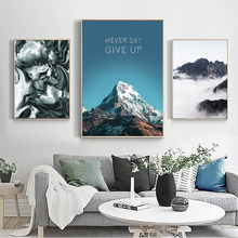 Nordic Modern Mountain Landscape Cloud Snow Canvas Painting Art Print Poster Picture Wall Bedroom Home Decoration