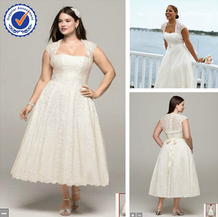 Wd1557 Lace Jacket Tea Length Plus Size Wedding Dress Online Sale In