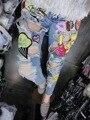 2016 женская мода личности мультфильм отверстие гофрированной животных шить сладкий lovely женские лоскутные джинсы