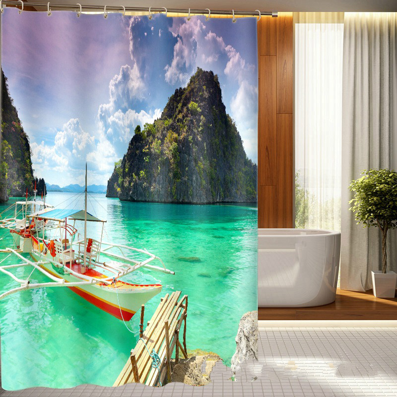 13PCS SET Polyester Waterproof Fabric Shower Curtains 3D printing Bath Curtain with 12 hooks shower curtain set customerized